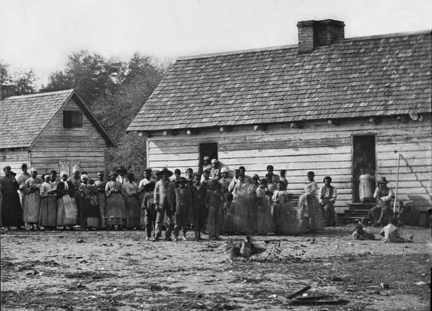 American Slavery - Enslaved Africans in America, African-American Slavery in the United States, African American Slaves in Front of Slave Cabins Photographs